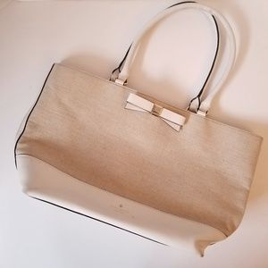 kate spade Holly Street Tote Leather/Linen Neutral